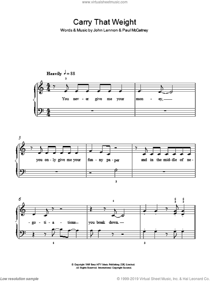 Carry That Weight sheet music for piano solo by Paul McCartney, The Beatles and John Lennon. Score Image Preview.