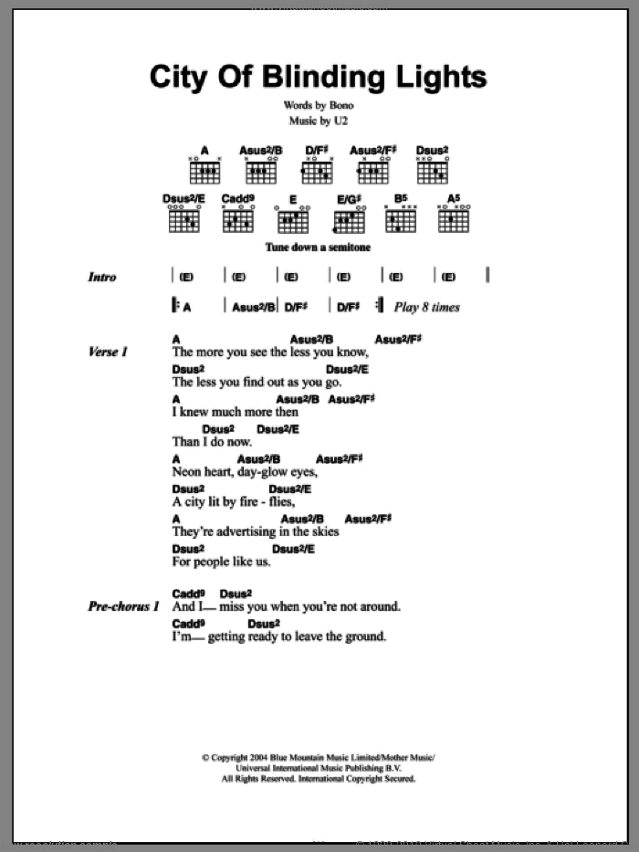 City Of Blinding Lights sheet music for guitar (chords) by U2 and Bono, intermediate guitar (chords). Score Image Preview.