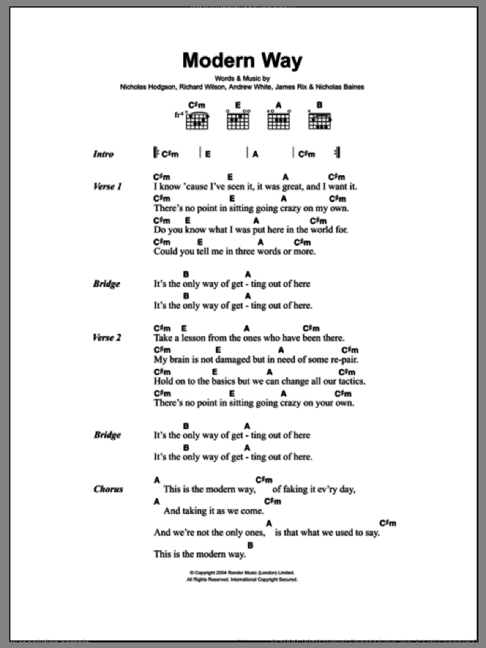 Modern Way sheet music for guitar (chords) by Richard Wilson, Andrew White and Nicholas Hodgson. Score Image Preview.
