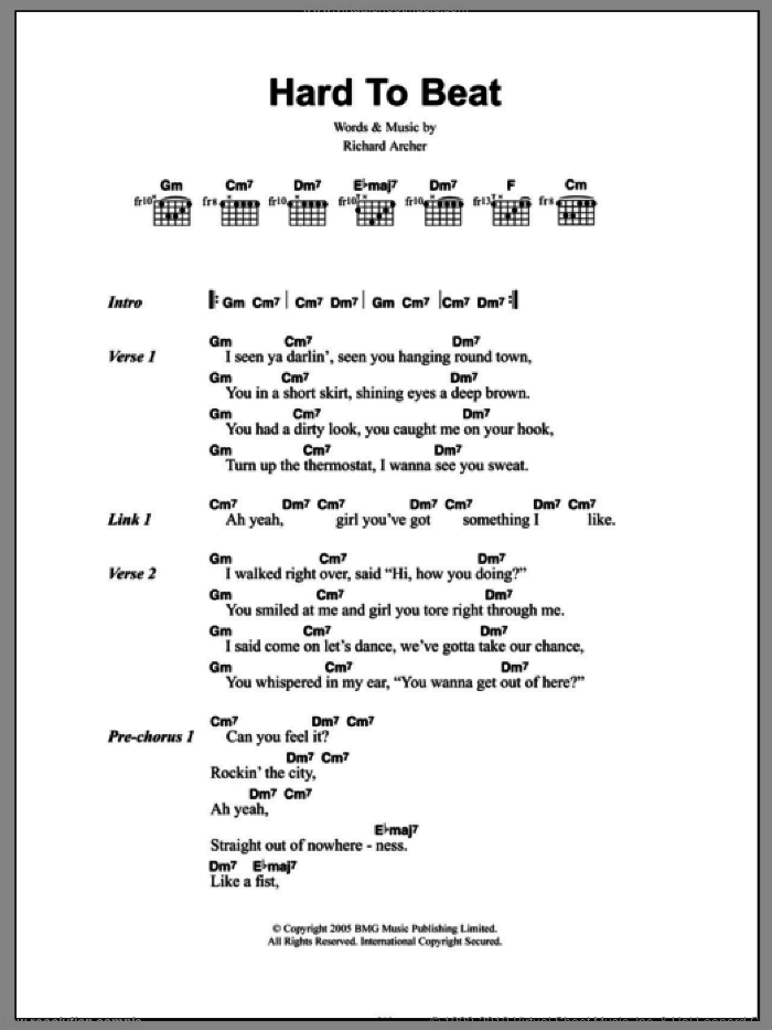 Hard To Beat sheet music for guitar (chords, lyrics, melody) by Richard Archer