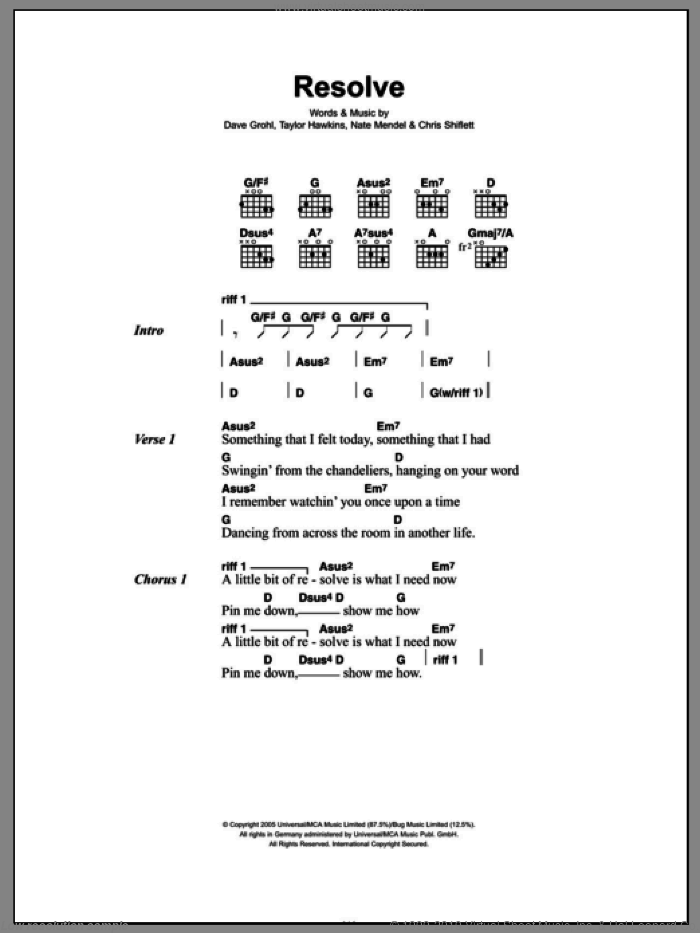 Resolve sheet music for guitar (chords) by Foo Fighters, Chris Shiflett, Dave Grohl, Nate Mendel and Taylor Hawkins, intermediate skill level