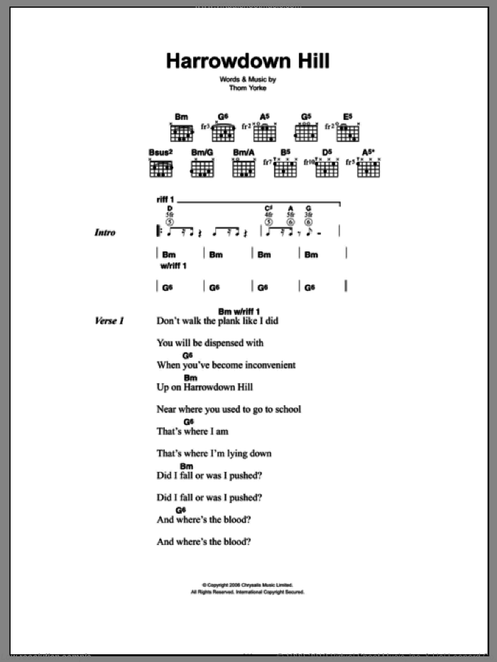 Harrowdown Hill sheet music for guitar (chords) by Thom Yorke, intermediate. Score Image Preview.