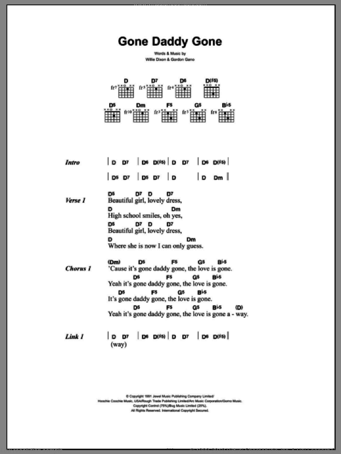 Gone Daddy Gone sheet music for guitar (chords) by Gnarls Barkley and Willie Dixon, intermediate guitar (chords). Score Image Preview.