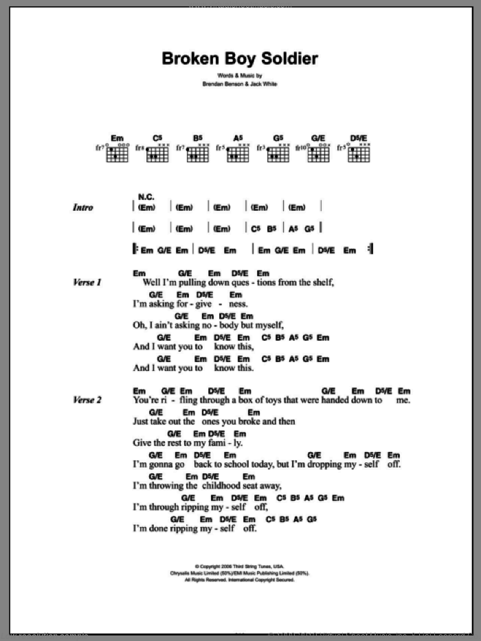 Broken Boy Soldier sheet music for guitar (chords) by Jack White, The Raconteurs and Brendan Benson