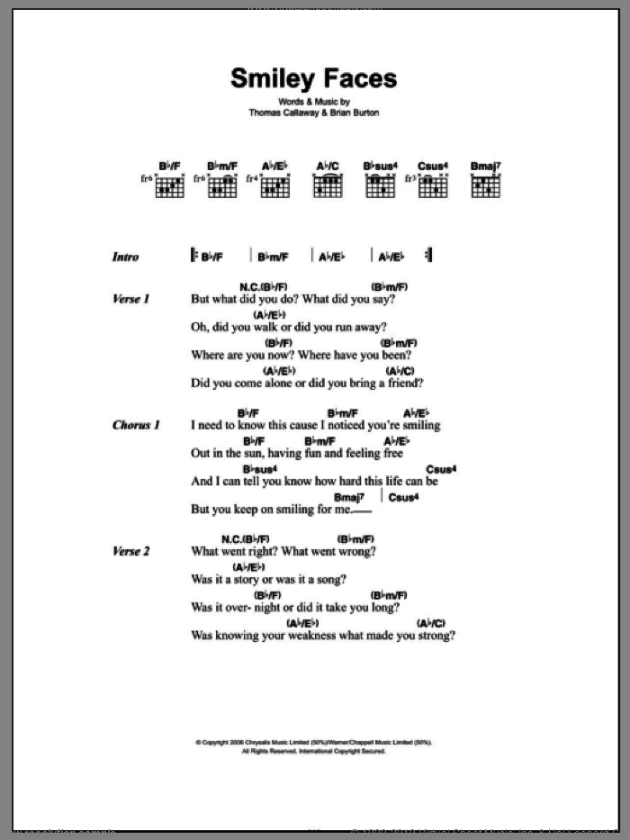 Smiley Faces sheet music for guitar (chords, lyrics, melody) by Thomas Callaway