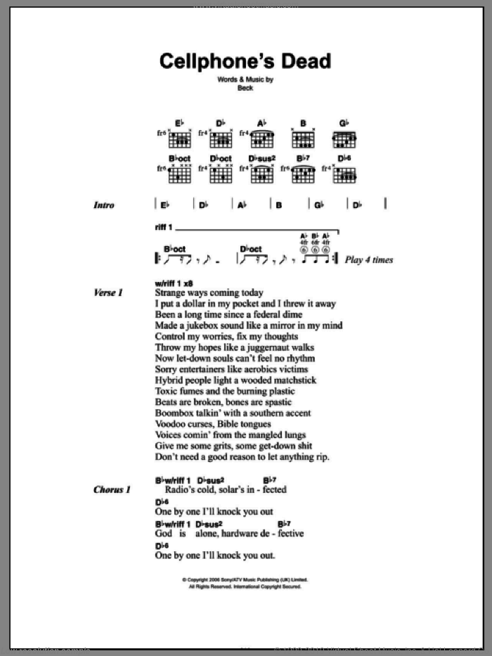 Cellphone's Dead sheet music for guitar (chords, lyrics, melody) by Beck Hansen