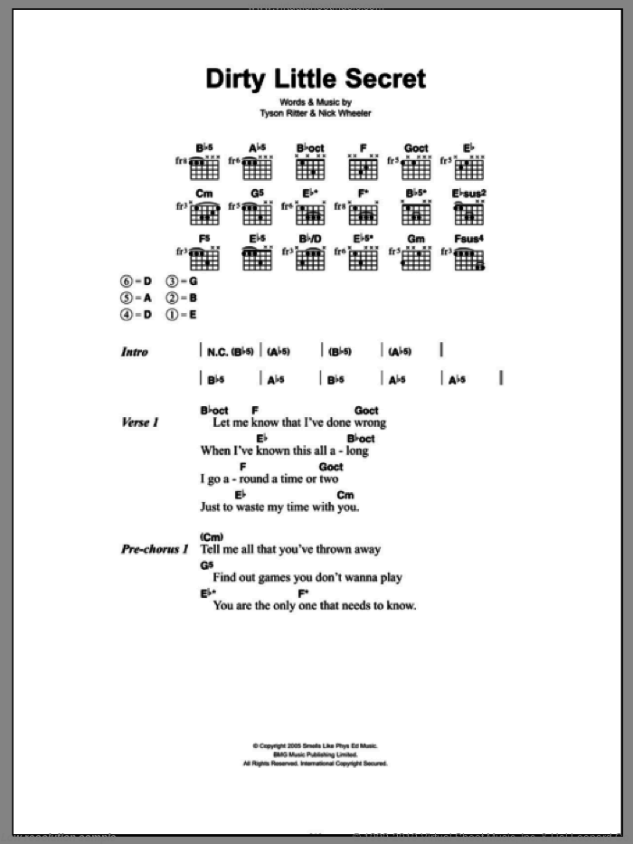 Dirty Little Secret sheet music for guitar solo (chords, lyrics, melody) by Tyson Ritter