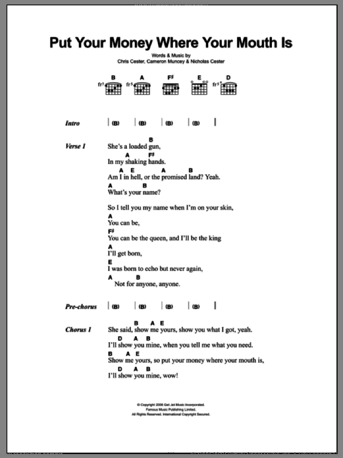 Put Your Money Where Your Mouth Is sheet music for guitar (chords) by Nic Cester. Score Image Preview.