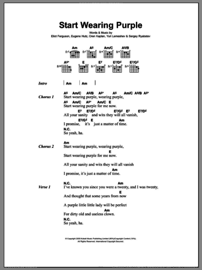 Start Wearing Purple sheet music for guitar (chords) by Gogol Bordello, Eliot Ferguson, Eugene Hutz, Oren Kaplan, Sergey Ryabstev and Yuri Lemeshev, intermediate