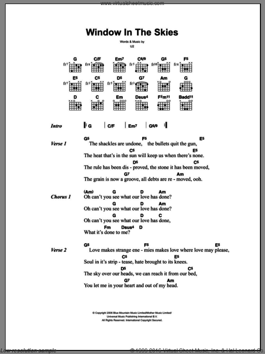 Window In The Skies sheet music for guitar (chords) by U2, intermediate guitar (chords). Score Image Preview.
