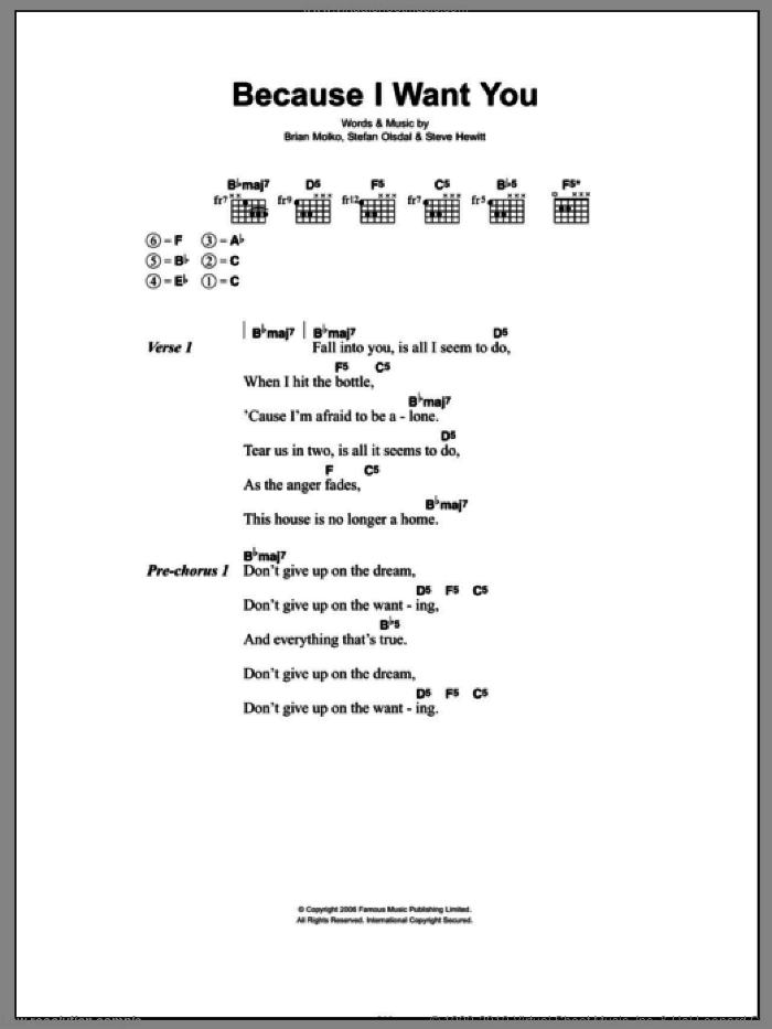 Because I Want You sheet music for guitar (chords) by Steve Hewitt, Brian Molko and Stefan Olsdal. Score Image Preview.