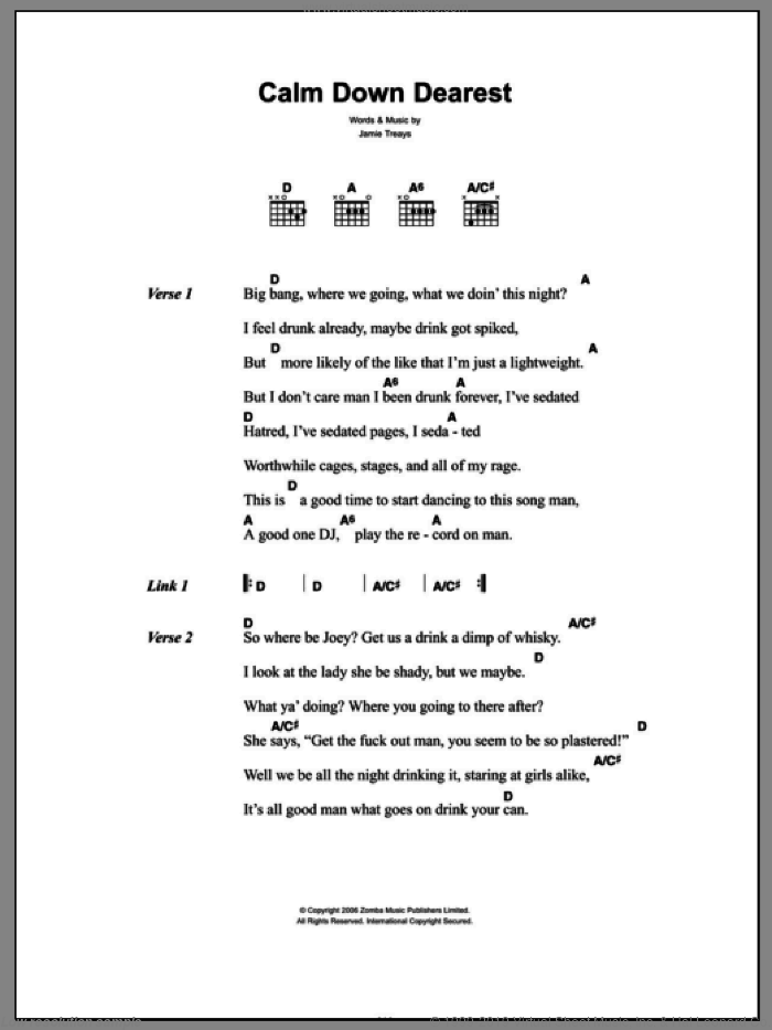 Calm Down Dearest sheet music for guitar (chords) by Jamie Treays. Score Image Preview.