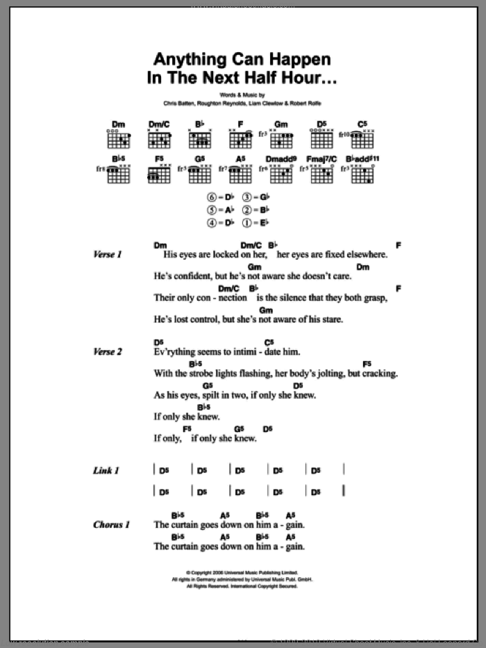 Anything Can Happen In The Next Half Hour sheet music for guitar (chords) by Roughton Reynolds