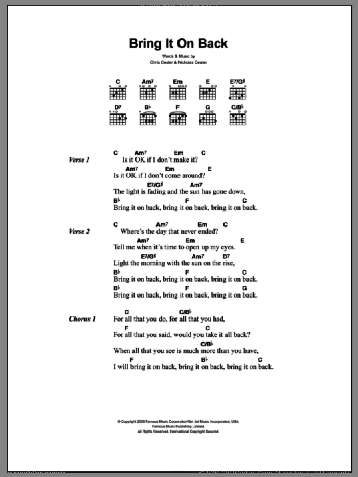 Bring It On Back sheet music for guitar (chords, lyrics, melody) by Chris Cester