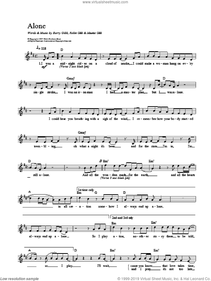 Alone sheet music for voice and other instruments (fake book) by Bee Gees. Score Image Preview.
