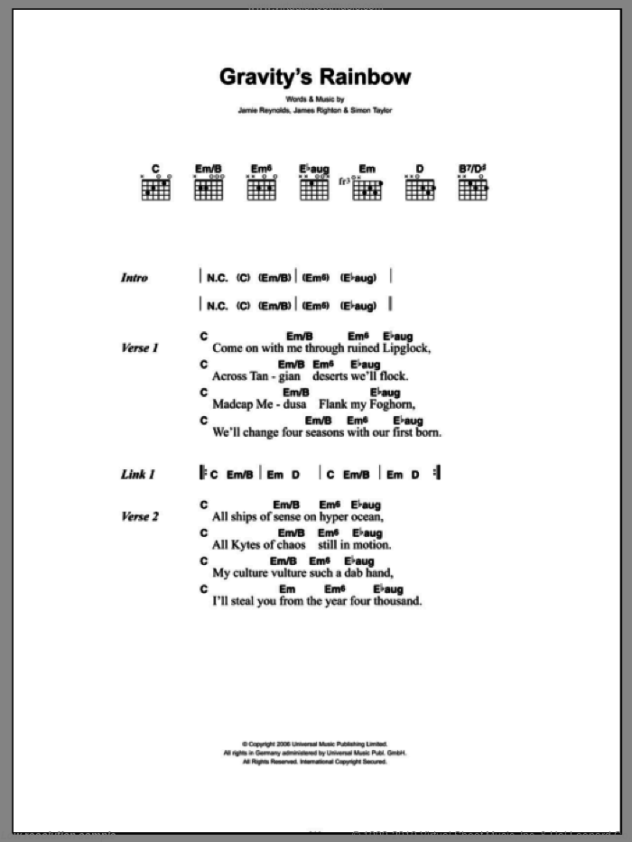 Gravity's Rainbow sheet music for guitar (chords) by Simon Taylor and James Righton. Score Image Preview.