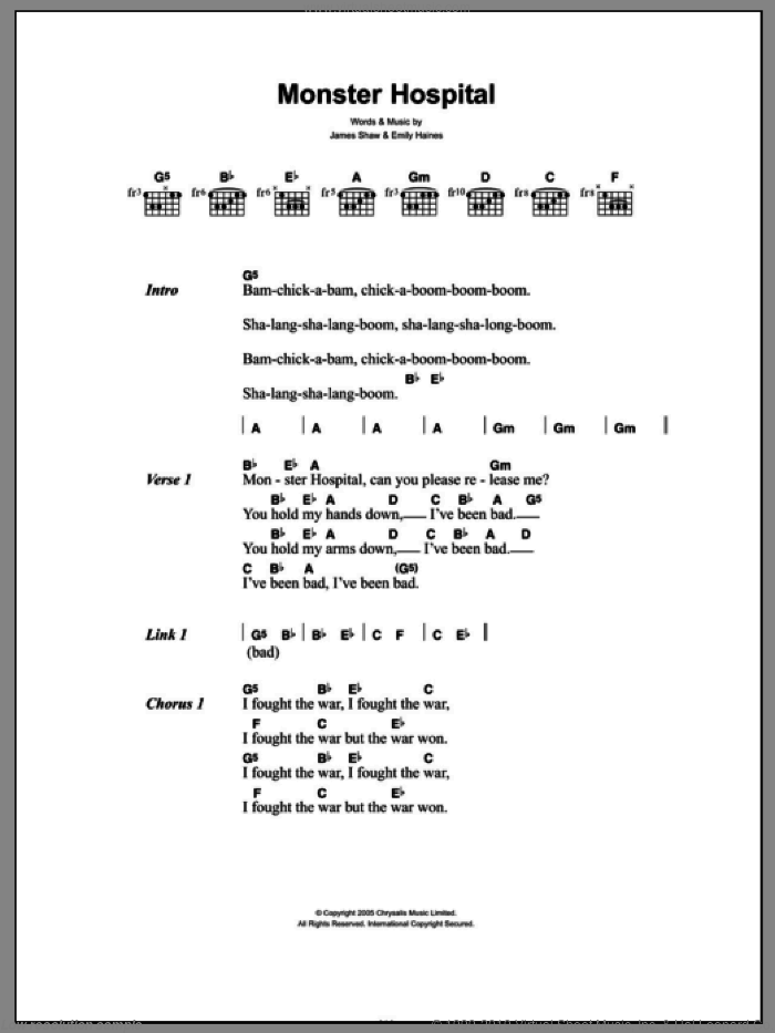 Monster Hospital sheet music for guitar (chords, lyrics, melody) by James Shaw