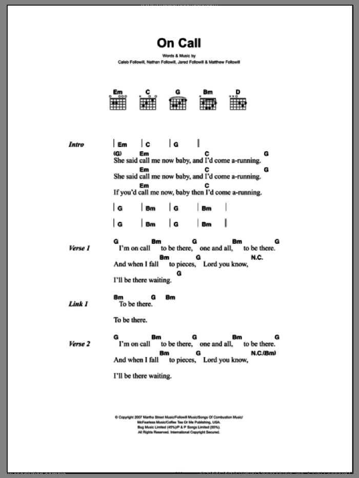 On Call sheet music for guitar (chords) by Kings Of Leon. Score Image Preview.