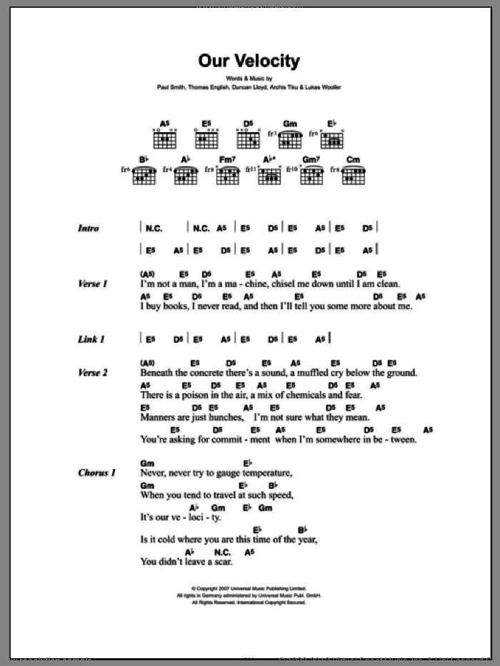 Our Velocity sheet music for guitar (chords) by Thomas English, Archis Tiku and Paul Smith. Score Image Preview.