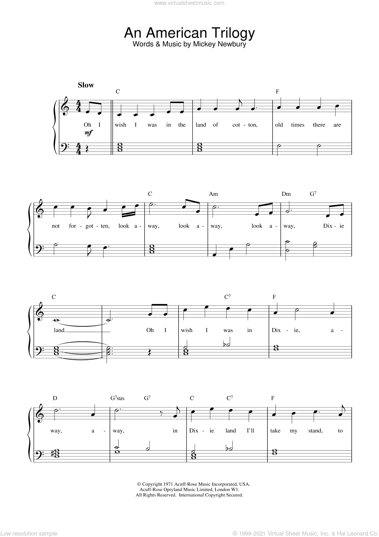 An American Trilogy sheet music for piano solo by Elvis Presley and Mickey Newbury, intermediate skill level