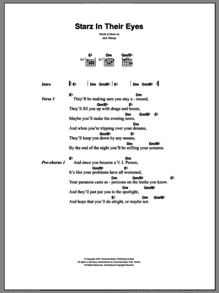 Starz In Their Eyes sheet music for guitar (chords) by Just Jack and Jack Allsopp, intermediate skill level