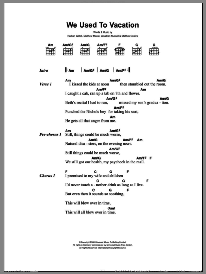 We Used To Vacation sheet music for guitar (chords) by Nathan Willett and Jonathan Russell. Score Image Preview.