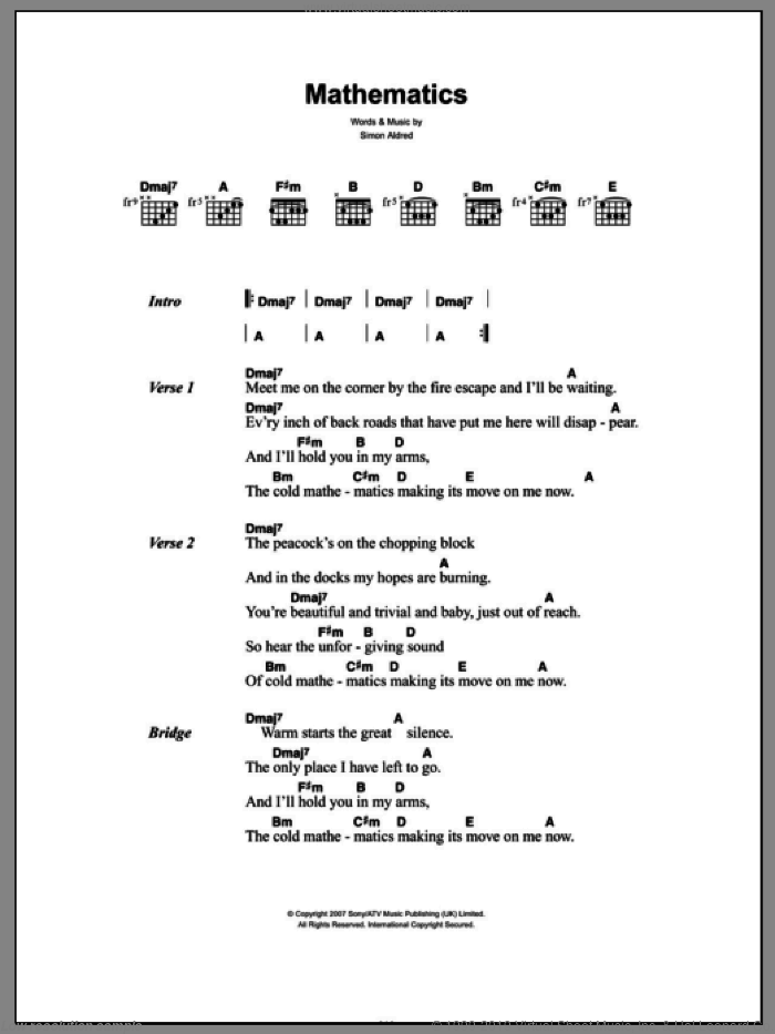 Mathematics sheet music for guitar (chords) by Simon Aldred
