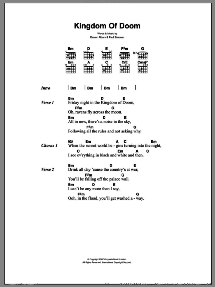 Kingdom Of Doom sheet music for guitar (chords) by The Good The Bad & The Queen, Damon Albarn and Paul Simonon, intermediate skill level