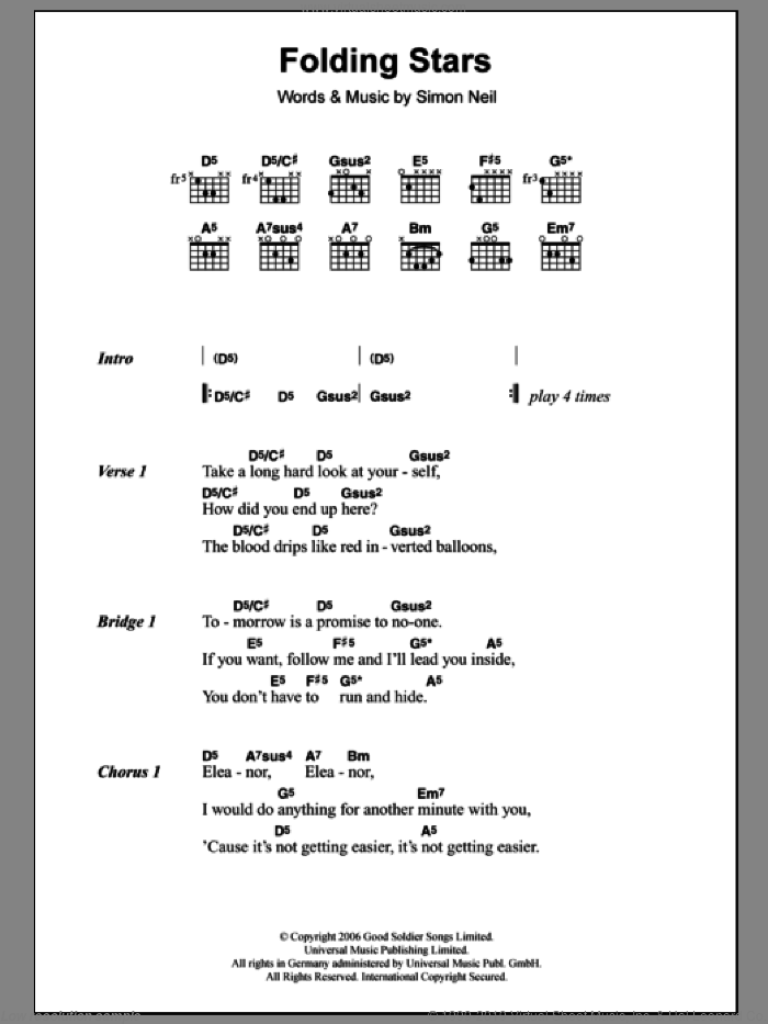 Folding Stars sheet music for guitar (chords) by Biffy Clyro, intermediate. Score Image Preview.