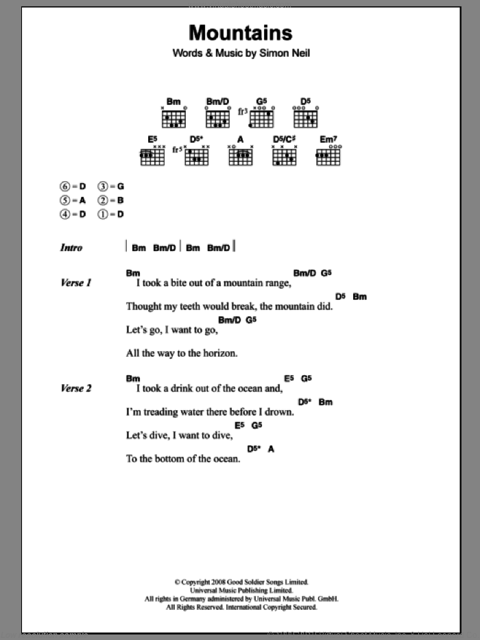 Mountains sheet music for guitar (chords) by Biffy Clyro and Simon Neil, intermediate skill level