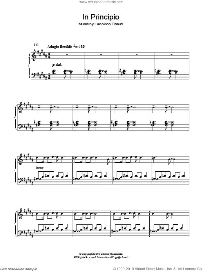 In Principio sheet music for piano solo by Ludovico Einaudi, classical score, intermediate skill level