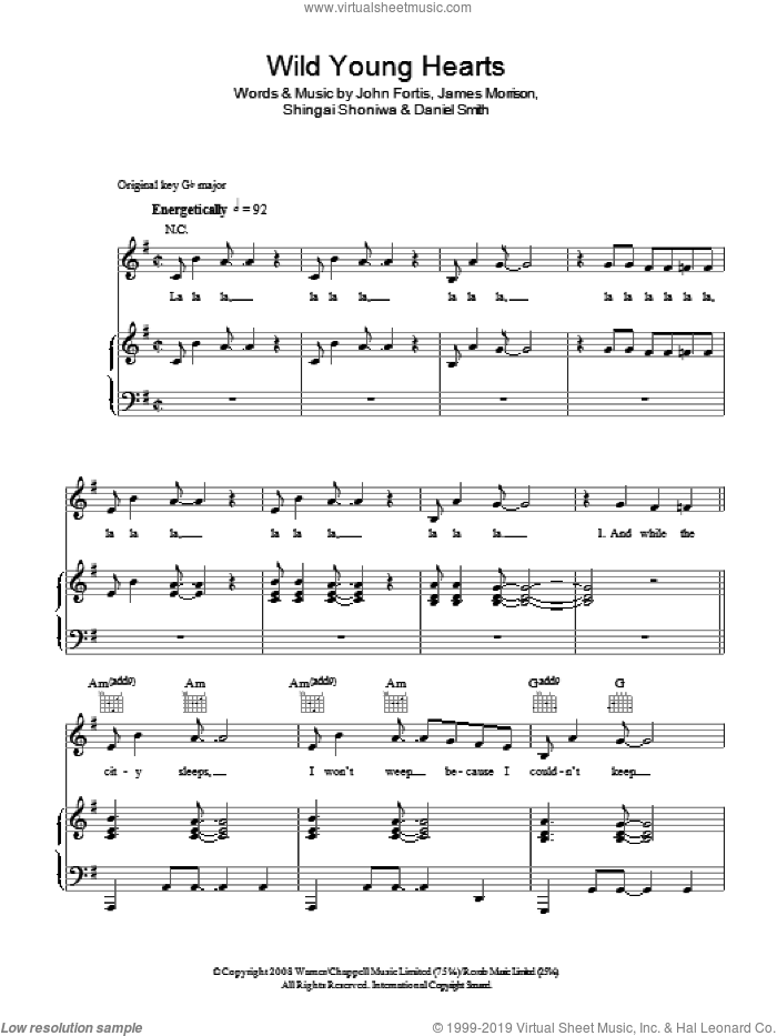 Wild Young Hearts sheet music for voice, piano or guitar by Shingai Shoniwa, Noisettes, Daniel Smith, James Morrison and John Fortis. Score Image Preview.