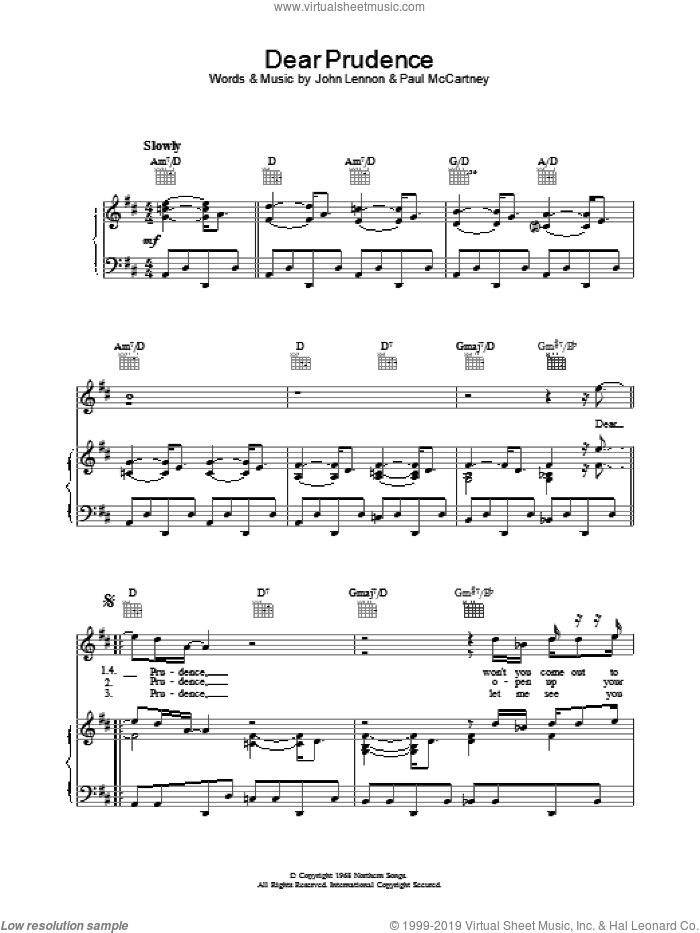 dear prudence sheet music pdf