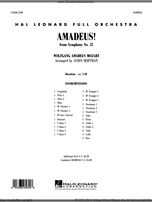 Amadeus! (COMPLETE) sheet music for full orchestra by Wolfgang Amadeus Mozart