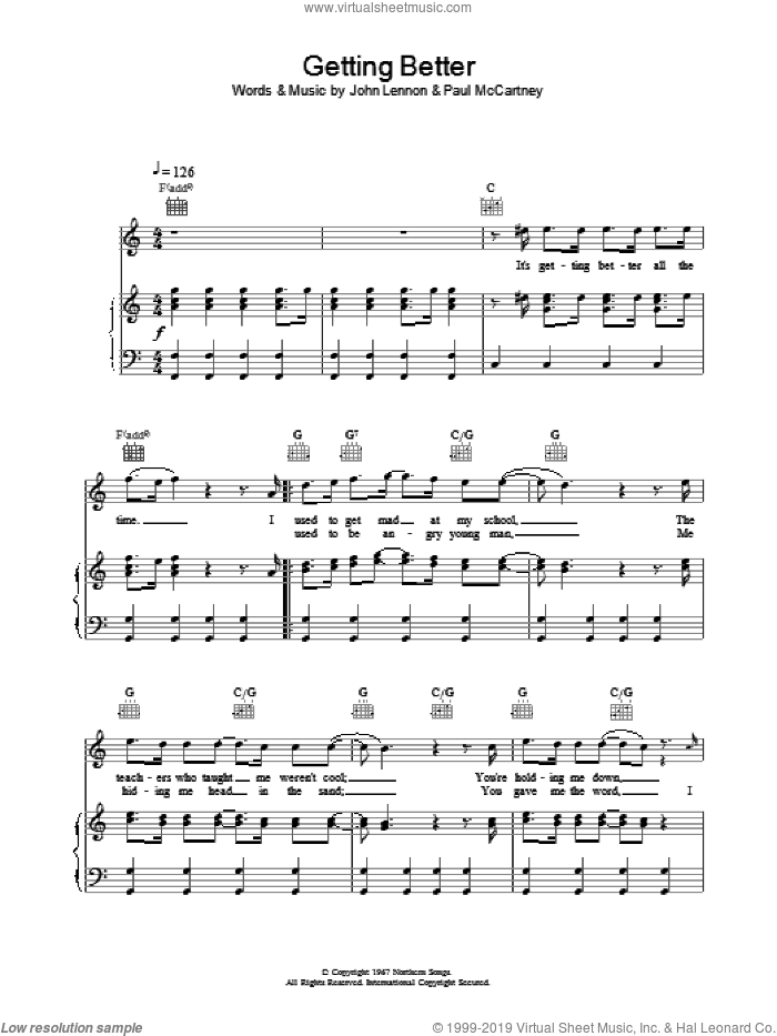 Getting Better sheet music for voice, piano or guitar by The Beatles, intermediate. Score Image Preview.