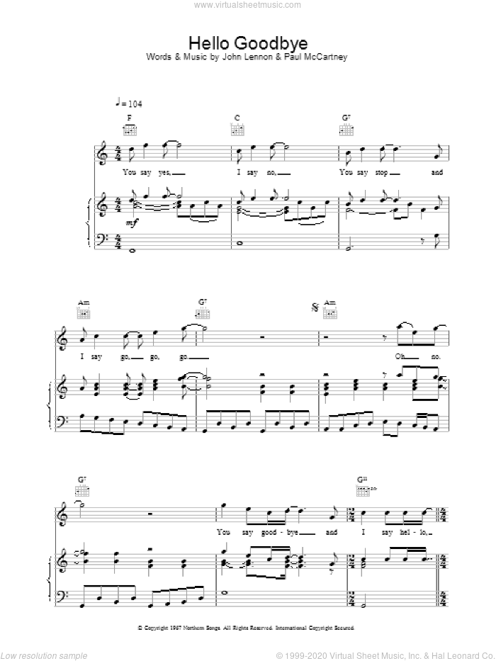 Hello, Goodbye sheet music for voice, piano or guitar by The Beatles. Score Image Preview.