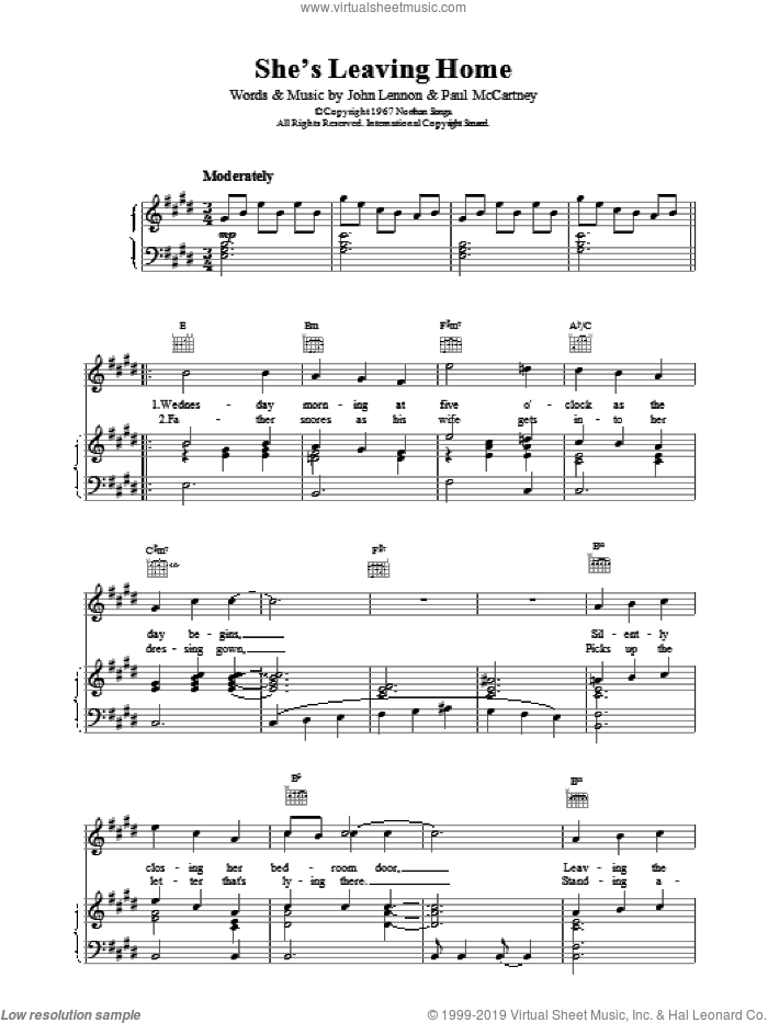 She's Leaving Home sheet music for voice, piano or guitar by The Beatles, intermediate skill level