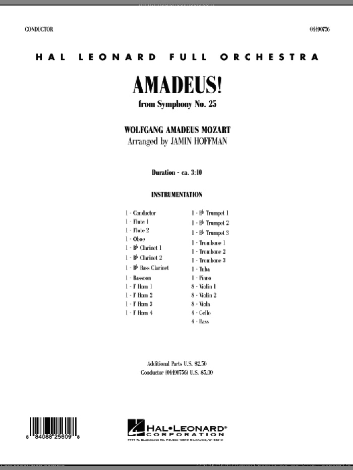 Amadeus! (COMPLETE) sheet music for full orchestra by Wolfgang Amadeus Mozart and Jamin Hoffman, classical score, intermediate. Score Image Preview.