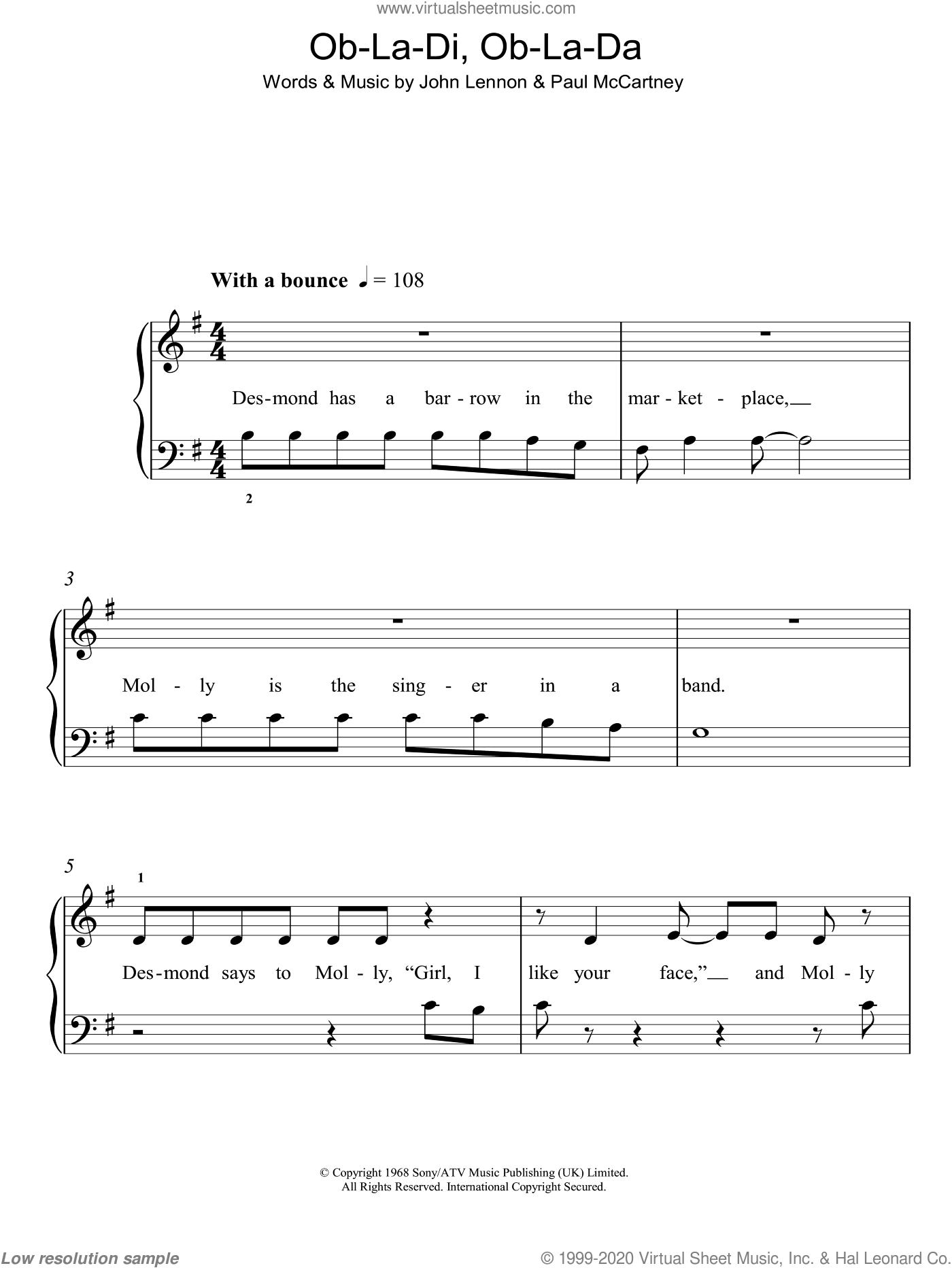 Ob-La-Di, Ob-La-Da sheet music for piano solo by John Lennon