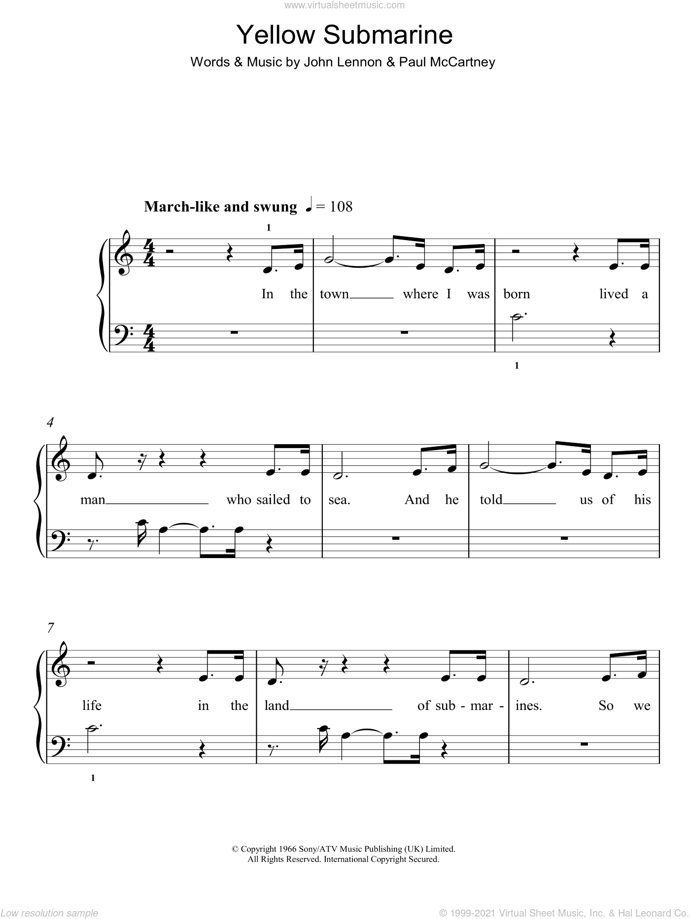 Beatles - Yellow Submarine, (easy) sheet music for piano solo