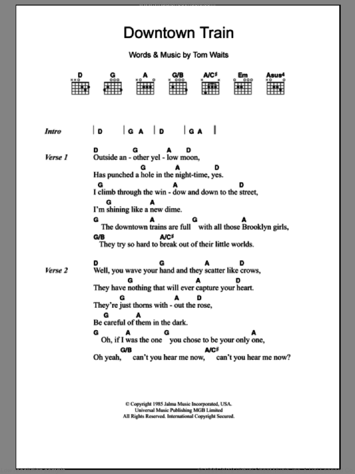 Waits - Downtown Train sheet music for guitar (chords) [PDF]