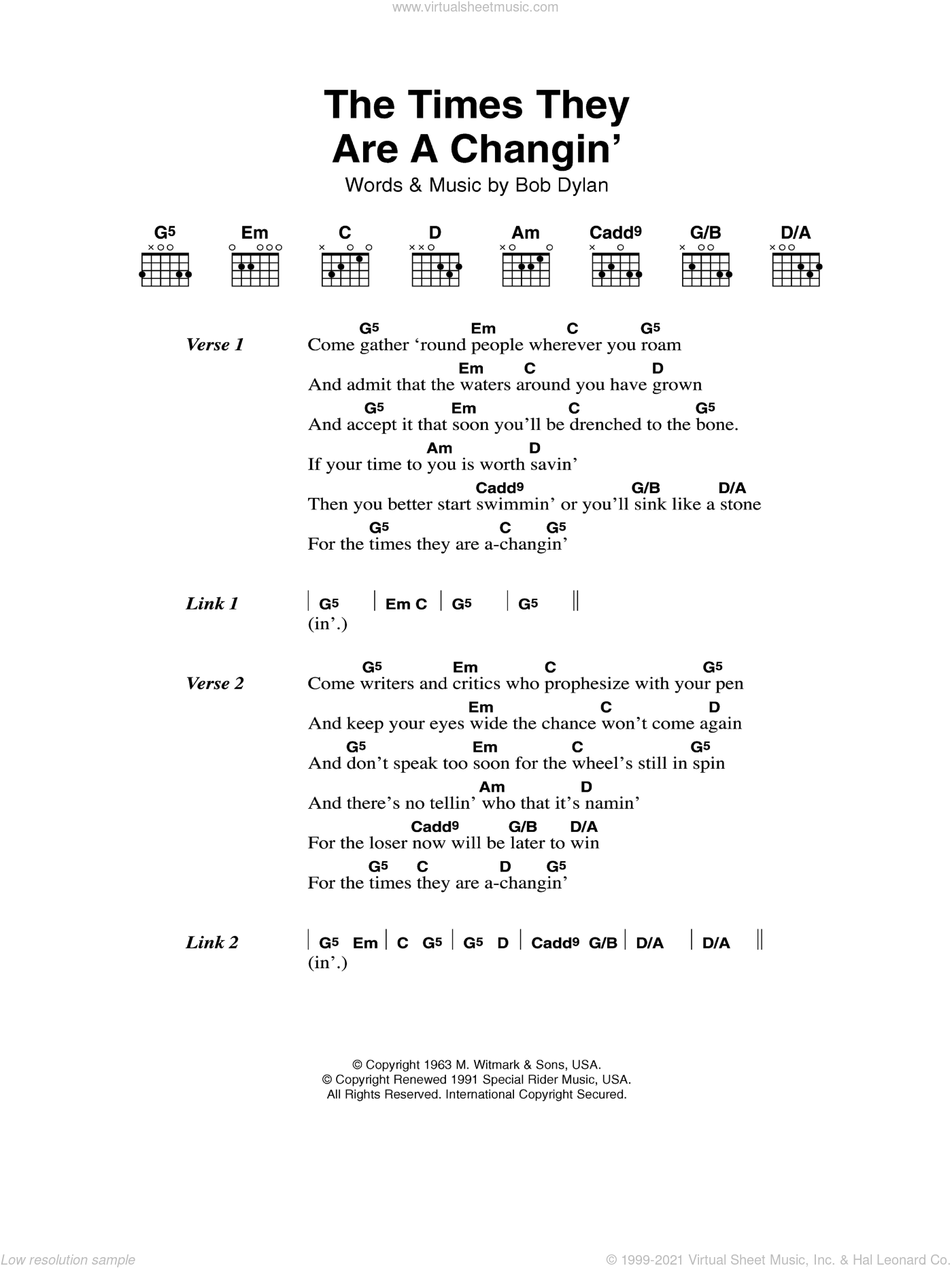 The Times They Are A-Changin' sheet music for guitar (chords) by Bob Dylan, intermediate skill level
