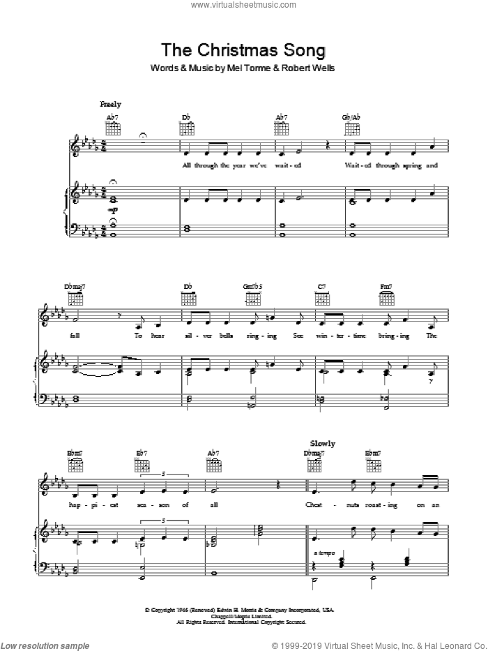 The Christmas Song (Chestnuts Roasting On An Open Fire) sheet music for voice, piano or guitar by Robert Wells
