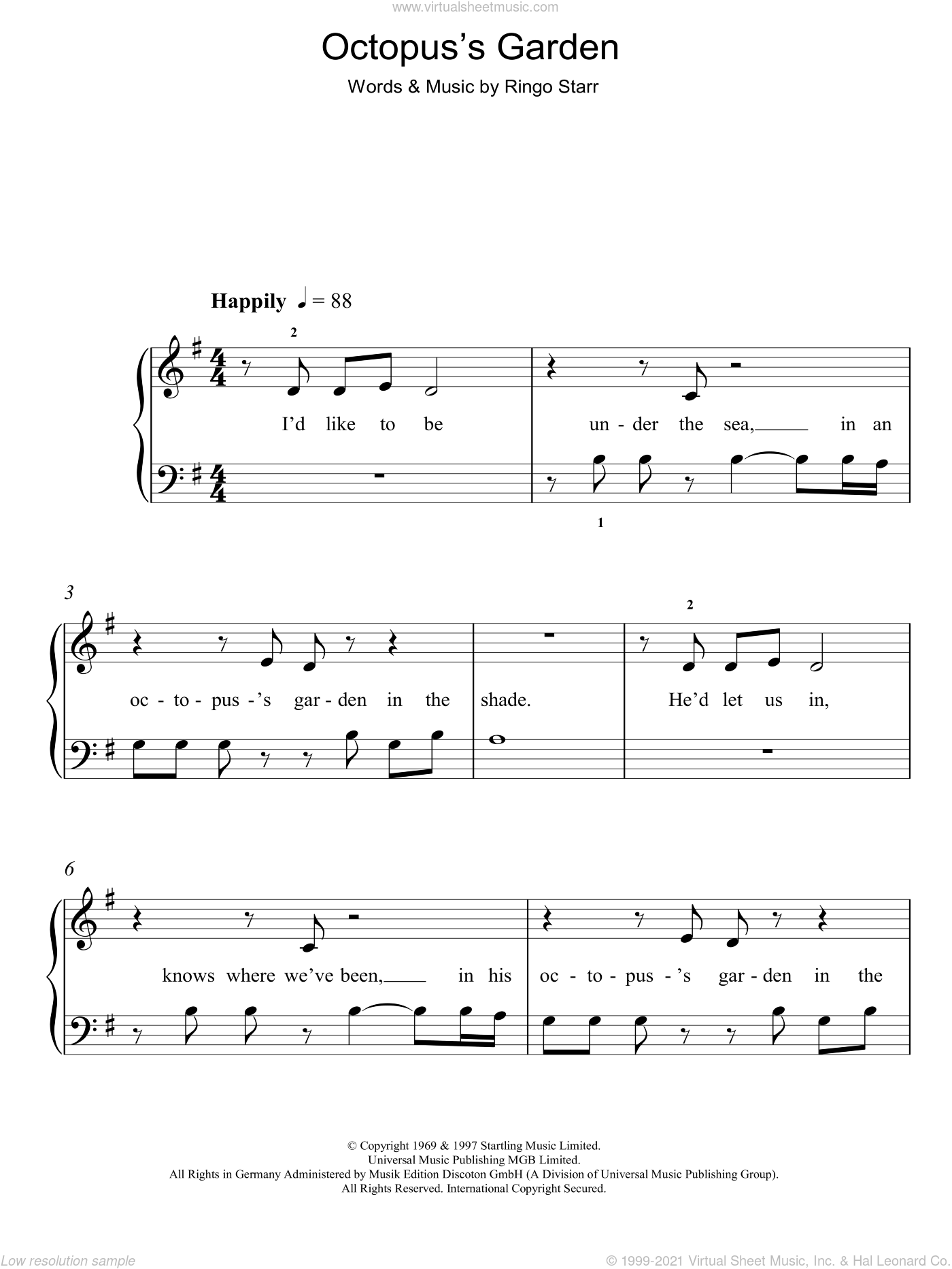 Octopus's Garden sheet music for piano solo by The Beatles and Ringo Starr, easy skill level