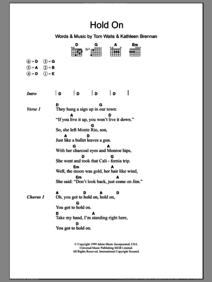 Hold On sheet music for guitar (chords) by Kathleen Brennan