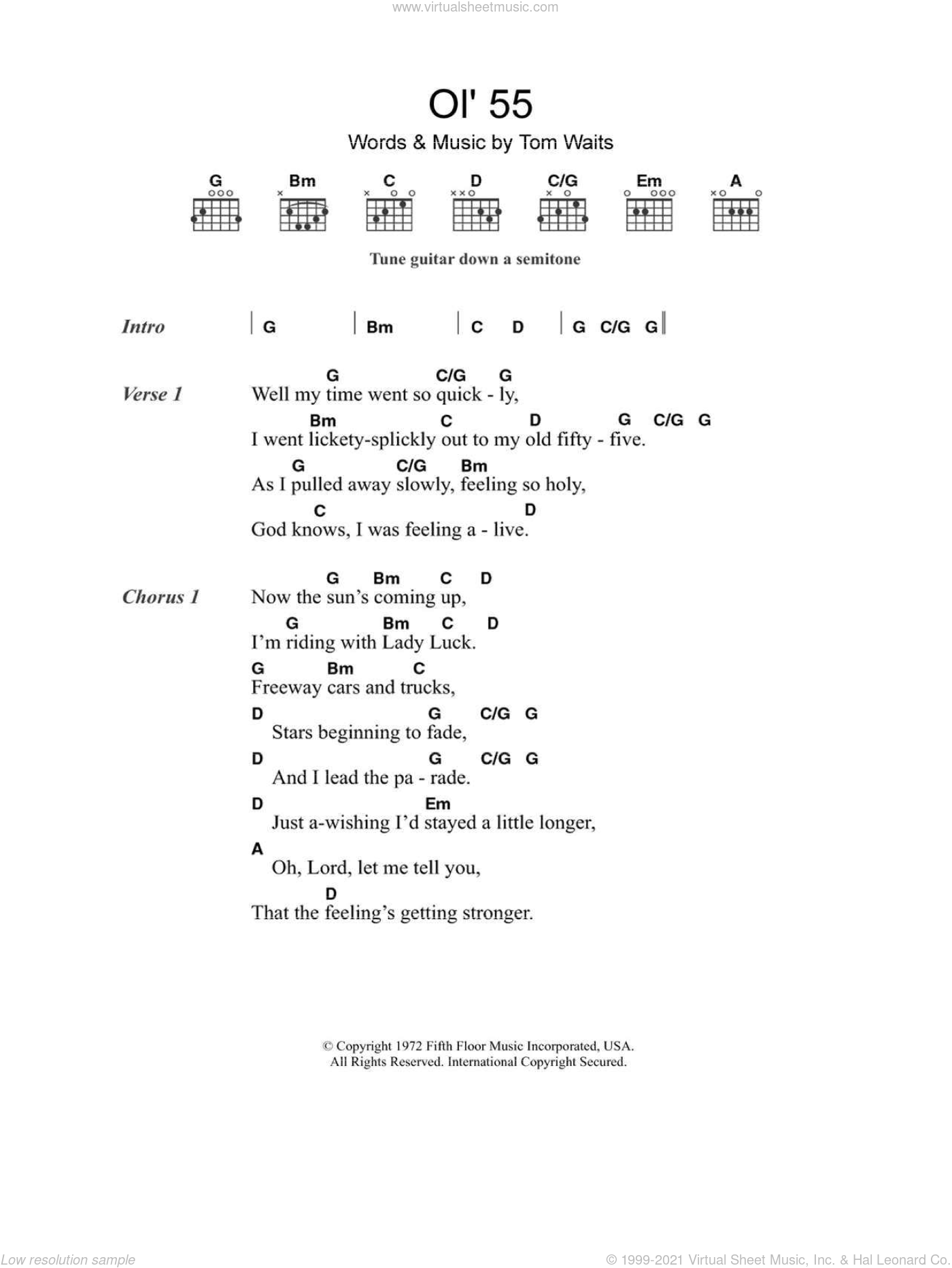 Ol' 55 sheet music for guitar (chords, lyrics, melody) by Tom Waits