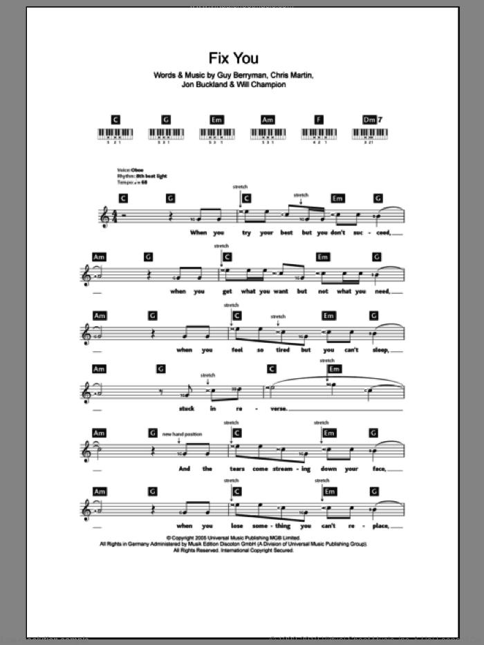 Fix You sheet music for piano solo (chords, lyrics, melody) by Coldplay, intermediate piano (chords, lyrics, melody). Score Image Preview.
