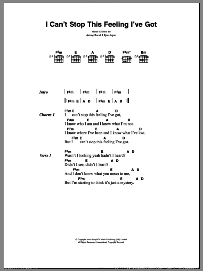 Can't Stop This Feeling I've Got sheet music for guitar (chords) by Johnny Borrell and Bjorn Agren. Score Image Preview.