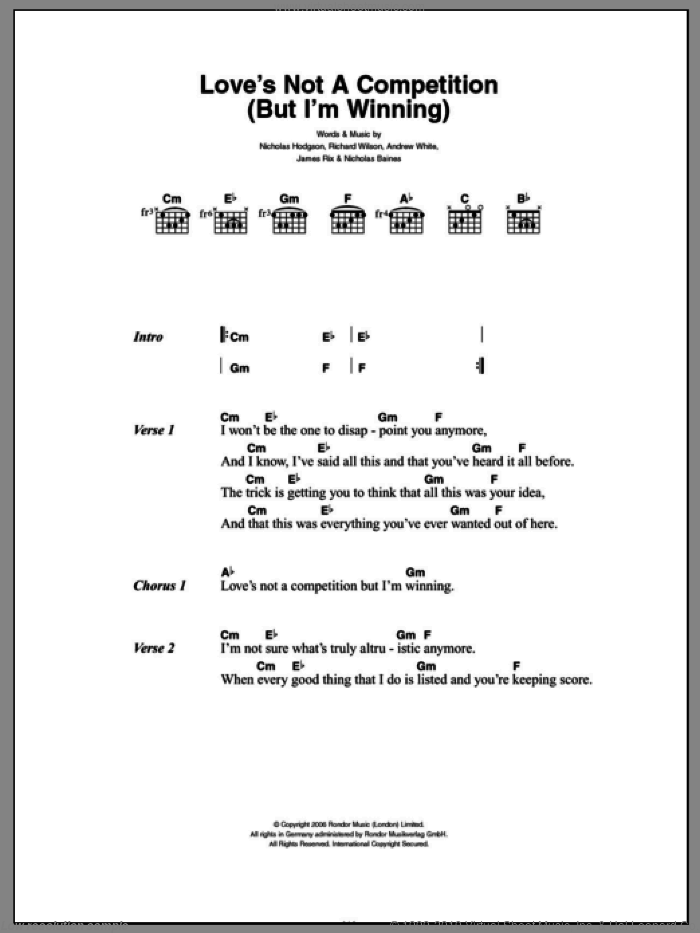 Love's Not A Competition (But I'm Winning) sheet music for guitar (chords) by Richard Wilson