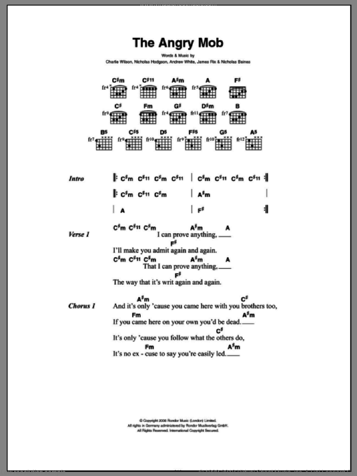 The Angry Mob sheet music for guitar (chords) by Kaiser Chiefs, Andrew White, James Rix, Nicholas Baines, Nicholas Hodgson and Richard Wilson, intermediate skill level